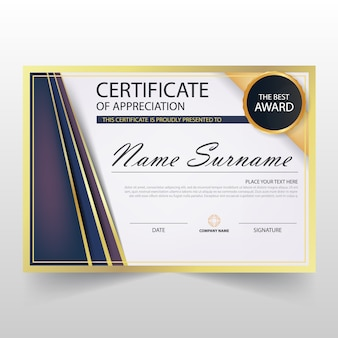 Lila ELegant horizontale Zertifikat mit Vektor-Illustration
