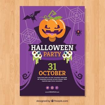Lila Halloween-Party-Plakat mit Kürbis