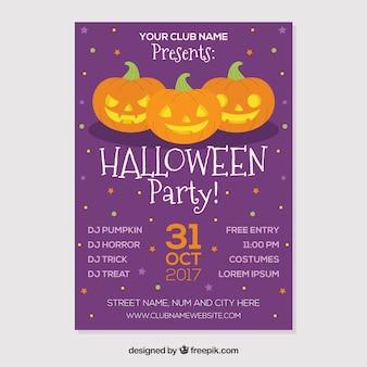 Lila Halloween-Partyplakat mit drei Kürbissen