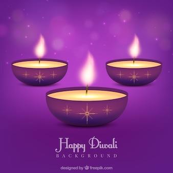Lila Hintergrund der diwali Kerzen
