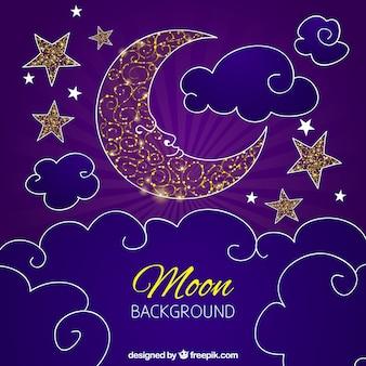 Lila Hintergrund Mond Design