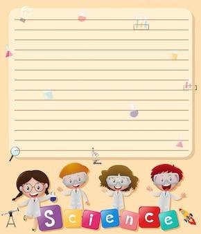 Line Papier Vorlage mit Kindern in Wissenschaft Labor Kostüm