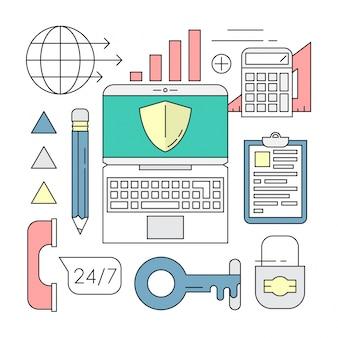 Linear-Art-Ikonen Minimal Business Security Elements