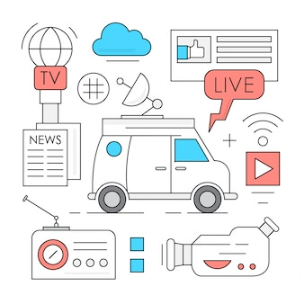 Lineare Massenmedien und Rundfunk Icons