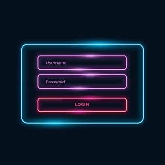 Login ui Form Design Neon-Stil mit Glanzeffekt