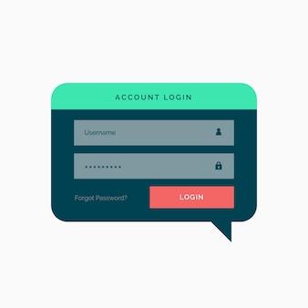 Login-Vorlage Design in Chat-Blase Stil mit flachen Farben