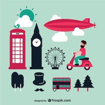 London Vektor Grafiken eingestellt