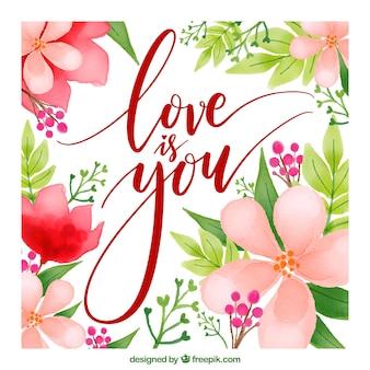 Love-Karte mit Blumen