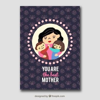 Lovely Grußkarte der Mutter mit ihren Kindern