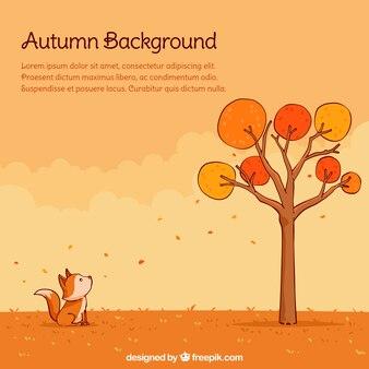 Lovely Herbst Backgroung mit Hand gezeichneten Stil