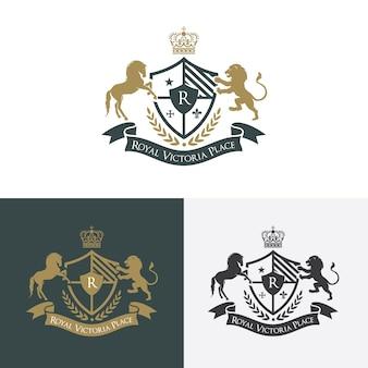 Löwe und Pferd Luxus-Logo. Wappenlogo. Logo Design für Hotel, Resort, Restaurant, Immobilien, Spa, Mode Markenidentität