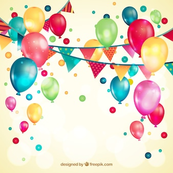 Luftballons und Girlanden