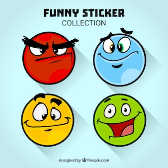 Lustige Gesichter Aufkleber Sammlung
