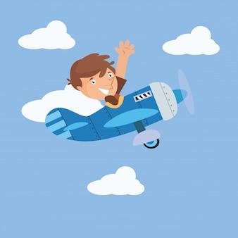 Lustige Jungen Pilot fliegen in den Himmel Zeichentrickfigur