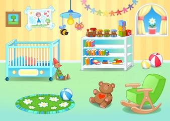 Lustige Kinderzimmer mit Spielzeug Vektor-Cartoon-Illustration