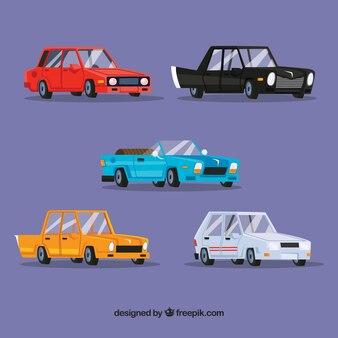 Lustige Packung von eleganten Autos