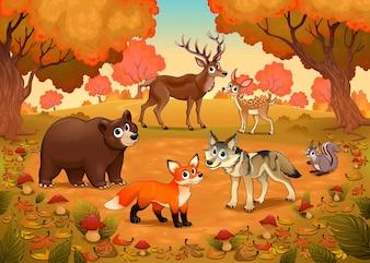 Lustige Tiere im Holz Vektor Cartoon Illustration