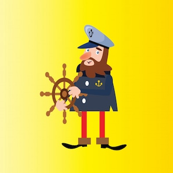 Lustiger bärtiger Seemann-Seemann-Seemann-Marine-Cartooncharakter