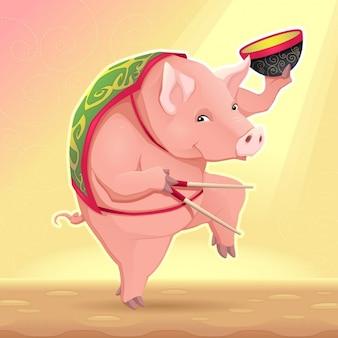 Lustiges Schwein mit Suppenschüssel und chinesischen Steuerknüppeln Vector cartoon illustration