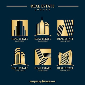 Luxury golden Immobilien Logos