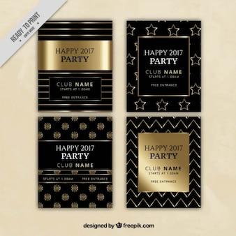 Luxus-Einladungen des neuen Jahres der Partei mit goldenen Details