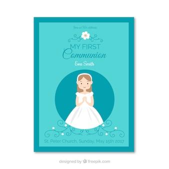 Mädchen erste Kommunion Einladung
