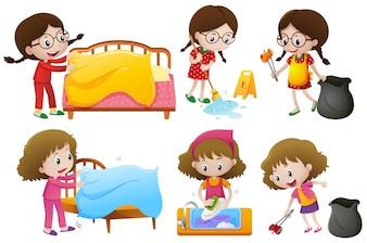 Mädchen machen verschiedene Aufgaben