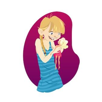 Mädchen spielt mit einer Puppe