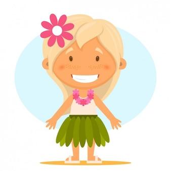 Mädchen tragen hawaiianische Kleidung