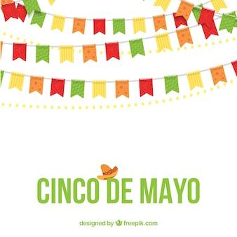 Mai fünf Hintergrund mit dekorativen Girlanden