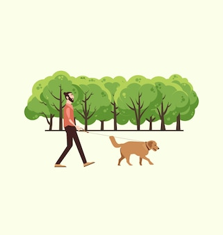 Mann mit seinem Hund spazieren gehen