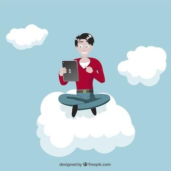 Mann mit Tablette auf Wolke