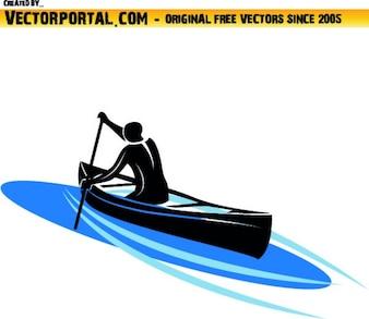 Mann Navigieren im Kajak