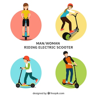 Mann und Frauen, die elektrischen Roller fahren