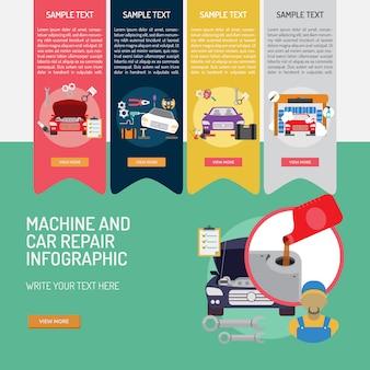 Maschinen- und Autoreparatur Infografik-Design