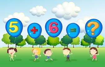 Mathe Arbeitsblatt mit Kindern im Park