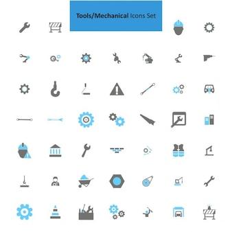 Mechanische Werkzeuge Icon-Set