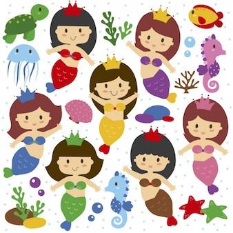 Meerjungfrauen Illustrationen
