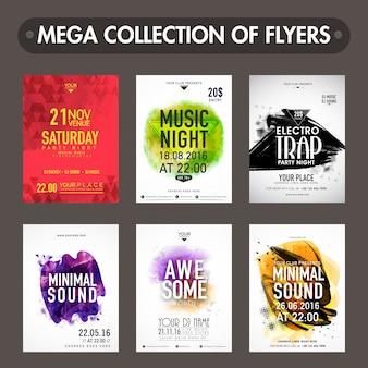 Mega-Sammlung von Music Party Flyern, Vorlagen oder Einladungskarten Präsentation mit abstrakten Design