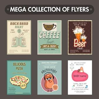 Mega-Sammlung von sechs verschiedenen Flyern oder Vorlagen Design