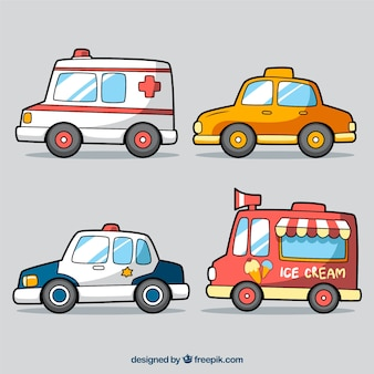 Mehrere farbige Fahrzeuge