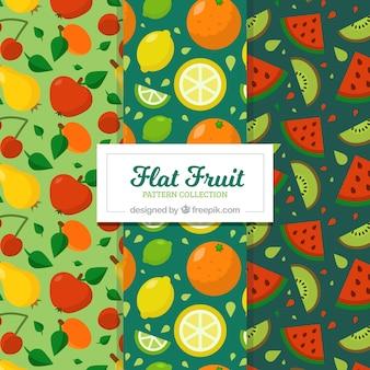 Mehrere Fruchtmuster in flachem Design