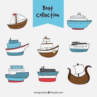 Mehrere Hand gezeichnete Boote