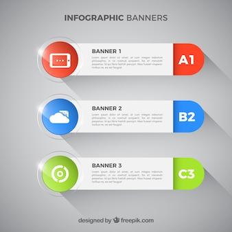 Mehrere infografische Banner mit farbigen Elementen