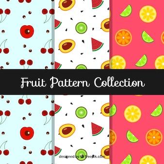Mehrere Muster mit leckeren Früchten in flachem Design