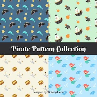 Mehrere Piratenmuster in flachem Design