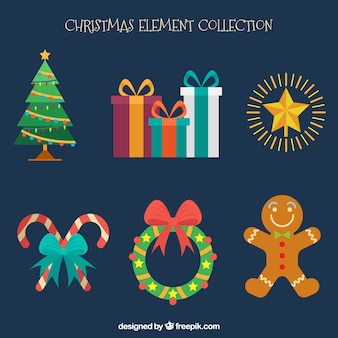 Mehrere Weihnachten Elemente in flachen Stil