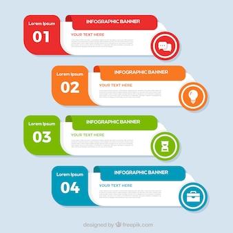 Mehrfarbige Infografikfahnen