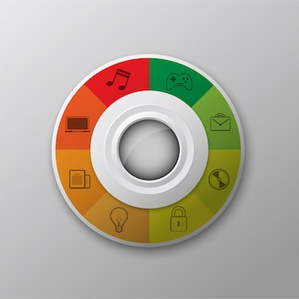 Mehrfarbiger Kreis mit Icons