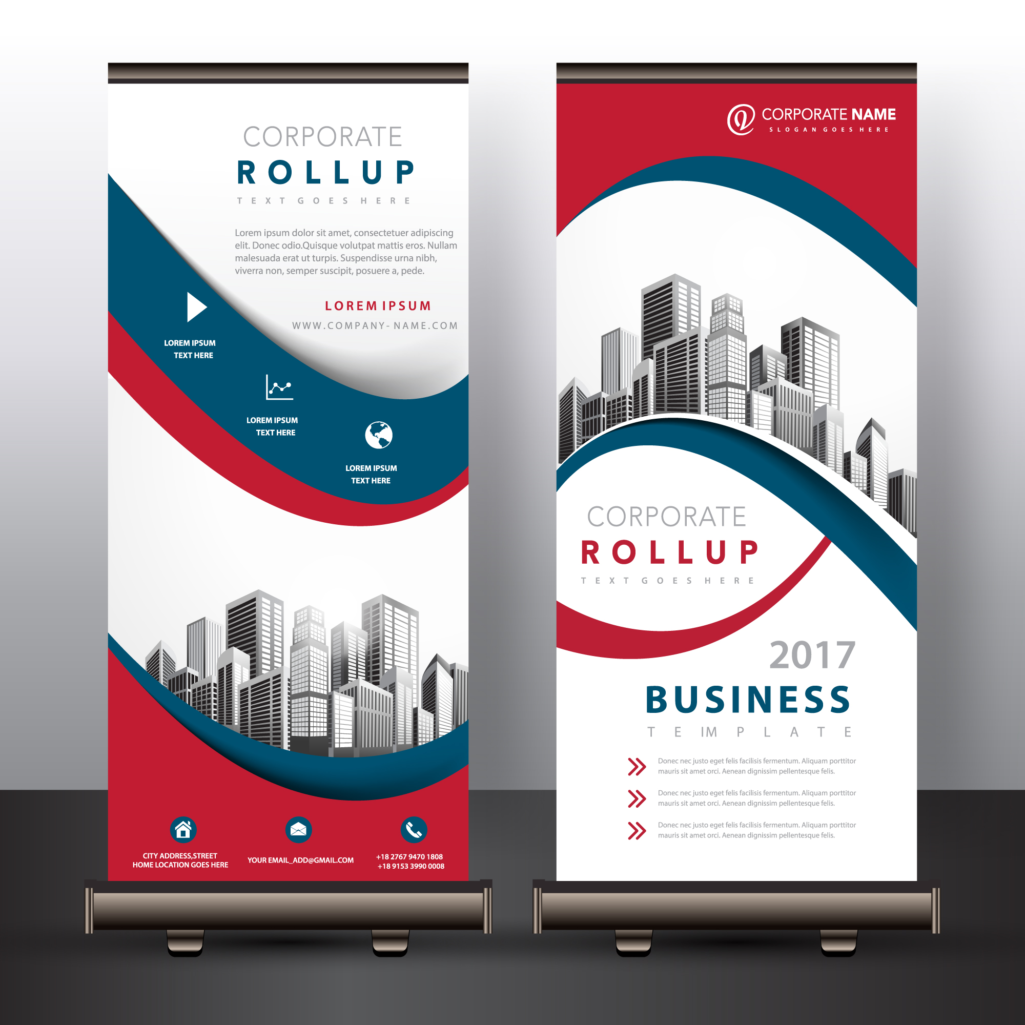 Mehrfarbiges Roll-up-Design